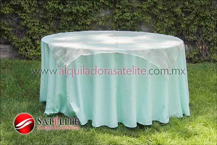 Mantel redondo verde agua organza blanco oro