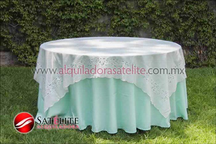 Mantel redondo verde agua organza marfil