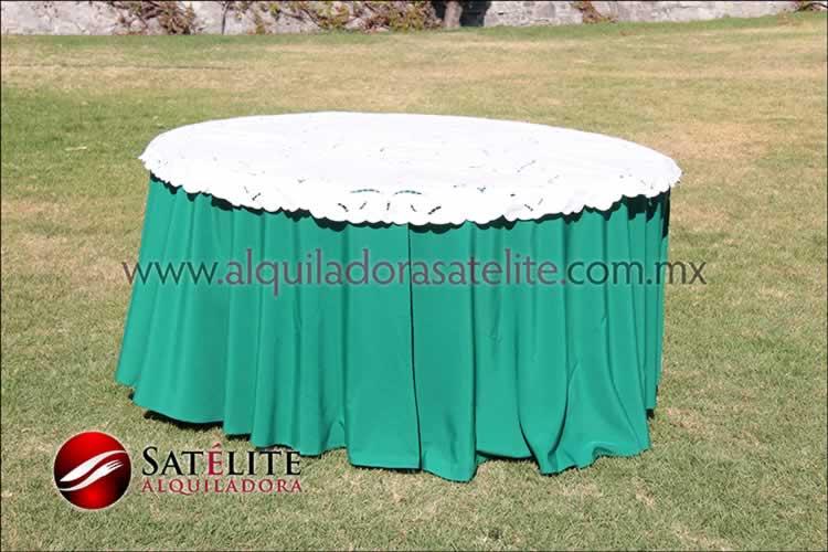 Mantel redondo verde bandera calado