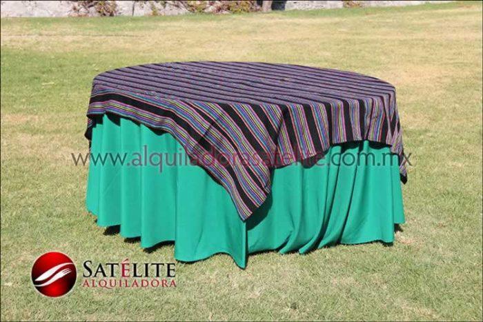 Mantel redondo verde bandera cambaya