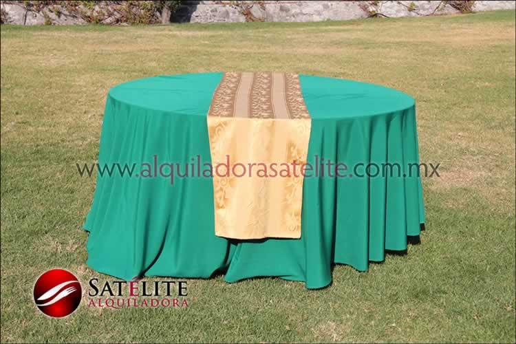 Mantel redondo verde bandera camino jackard