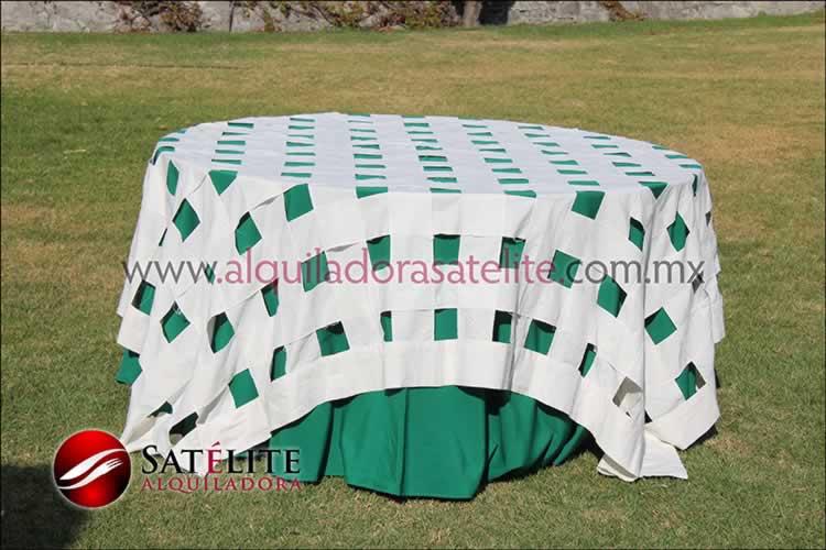 Mantel redondo verde bandera entrelazado manta