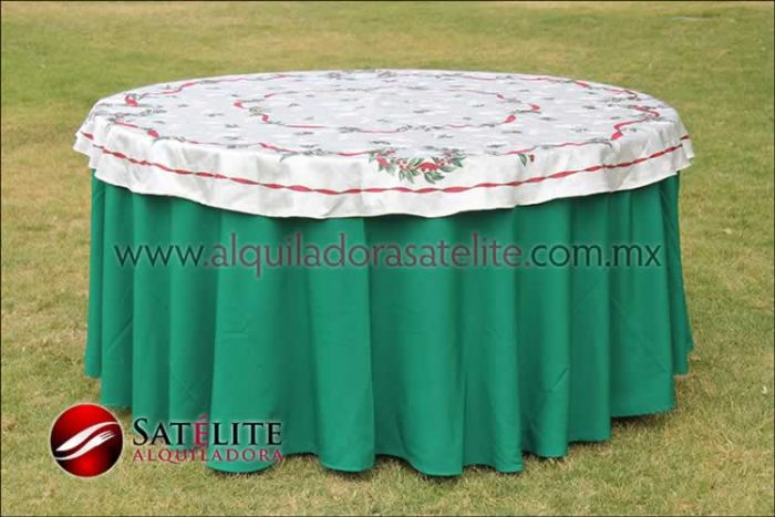 Mantel redondo verde bandera navideño marfil