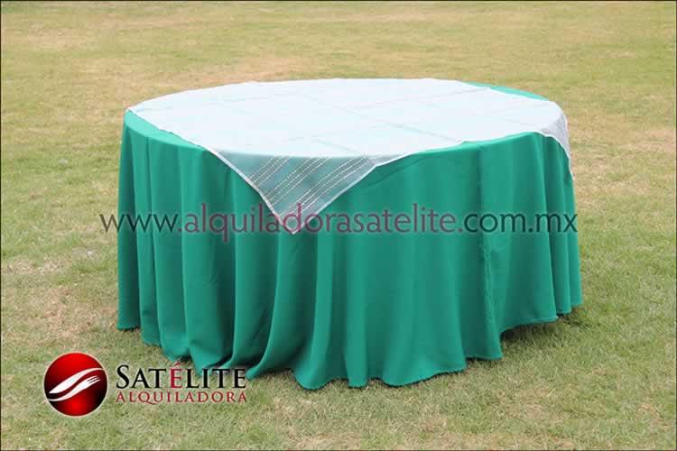 Mantel redondo verde bandera organza blanco oro