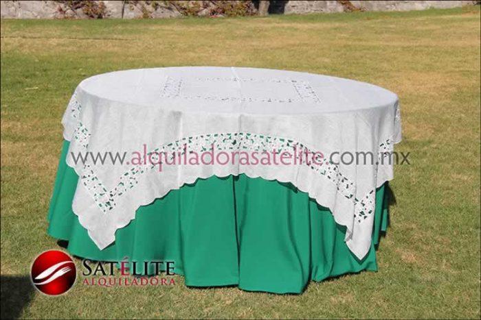 Mantel redondo verde bandera organza marfil