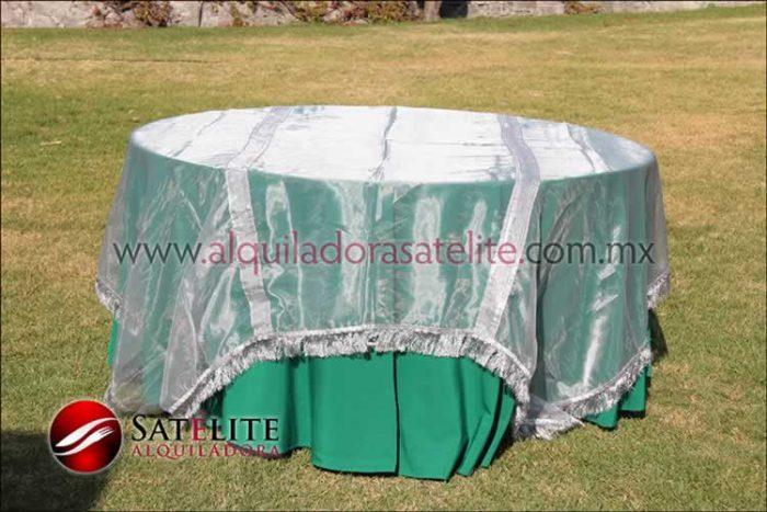 Mantel redondo verde bandera organza plata