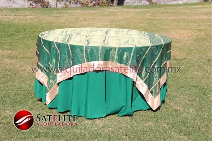 Mantel redondo verde bandera organza verde oro