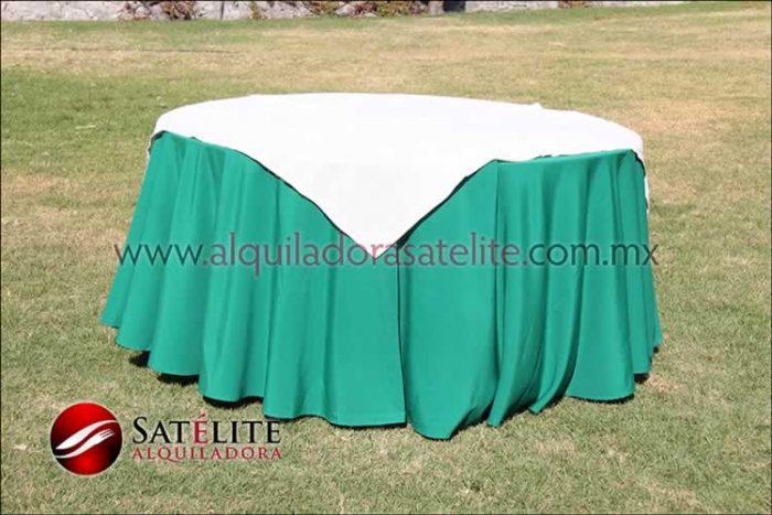 Mantel redondo verde bandera yute