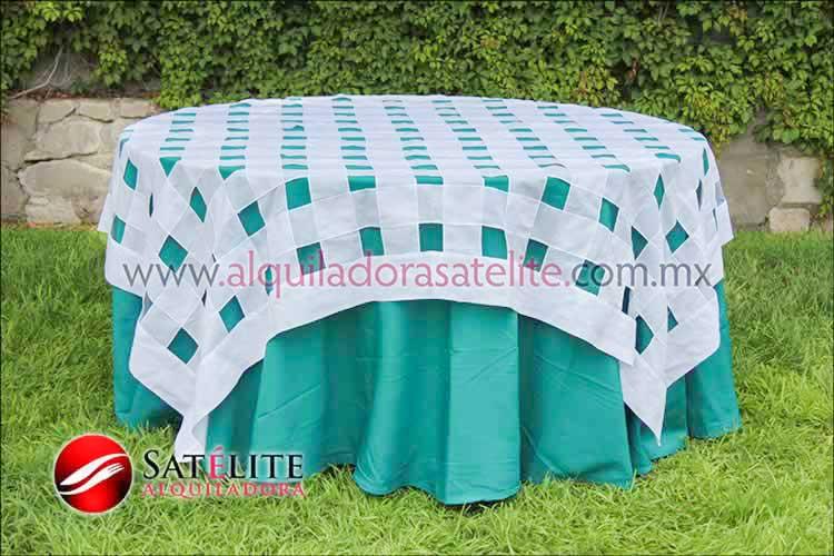 Mantel redondo verde jade entrelazado blanco