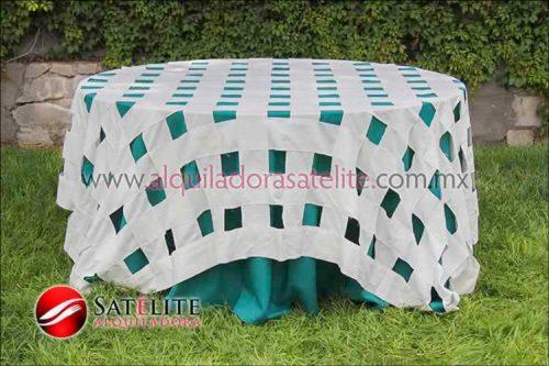 Mantel redondo verde jade entrelazado manta