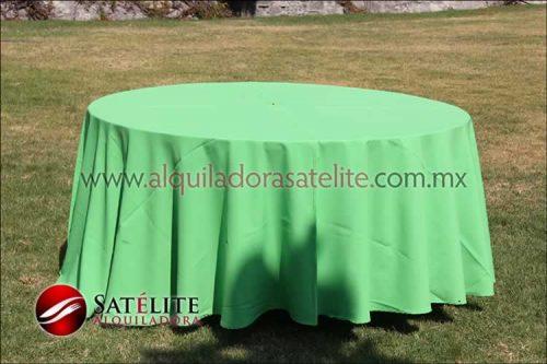 Mantel redondo verde limón