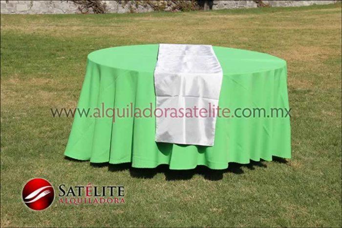 Mantel redondo verde limón camino blanco