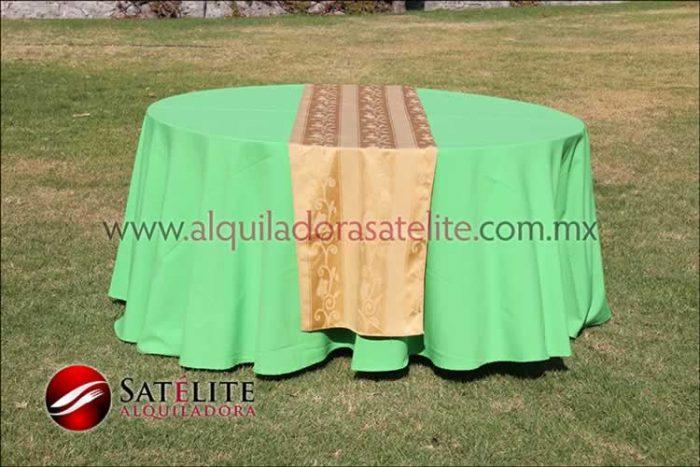 Mantel redondo verde limón camino jackard