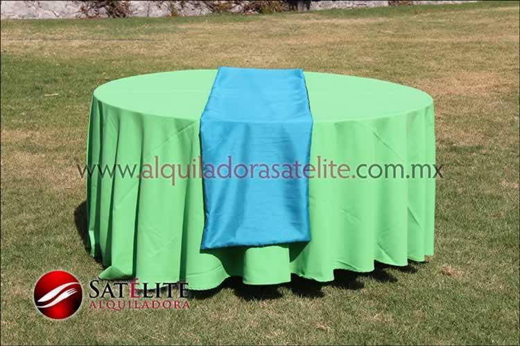 Mantel redondo verde limón camino verde