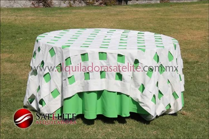 Mantel redondo verde limón entrelazado manta