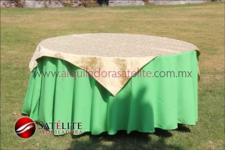 Mantel redondo verde limón jackard