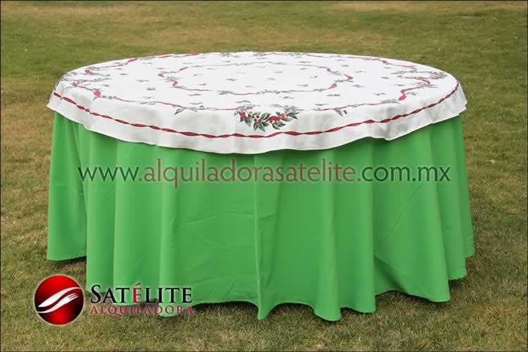 Mantel redondo verde limón navideño marfil