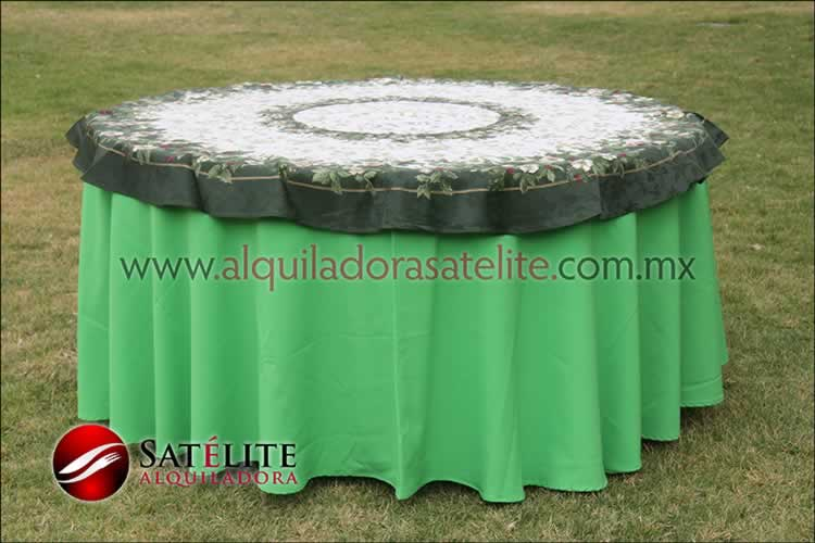 Mantel redondo verde limón navideño verde
