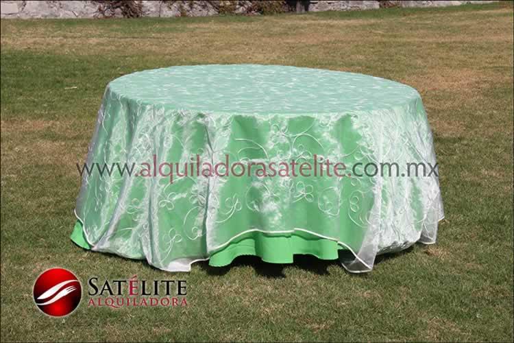 Mantel redondo verde limón organza alistonado