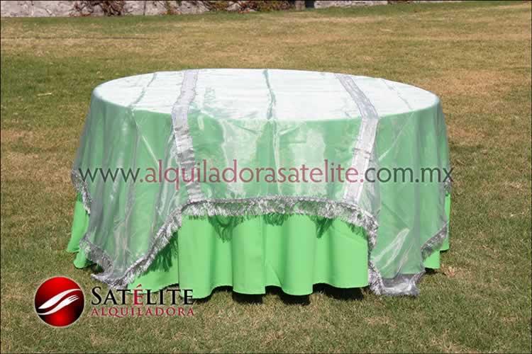 Mantel redondo verde limón organza plata