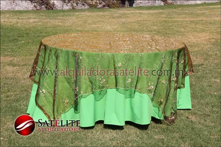 Mantel redondo verde limón organza shedrón