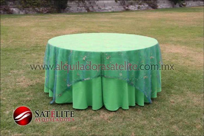 Mantel redondo verde limón organza verde