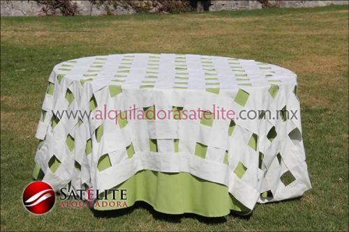 Mantel redondo verde manzana entrelazado manta