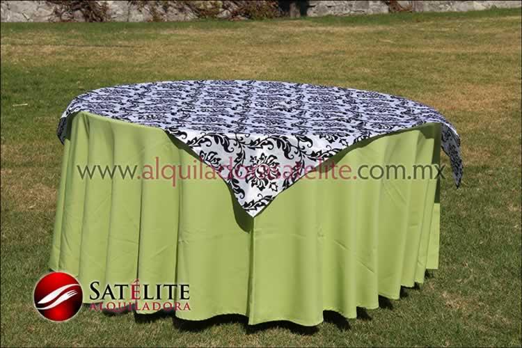 Mantel redondo verde manzana estampado blanco y negro