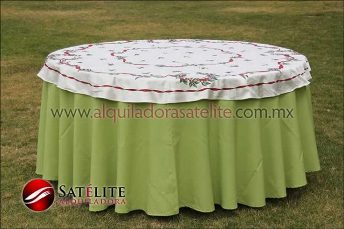 Mantel redondo verde manzana navideño marfil