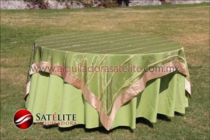 Mantel redondo verde manzana organza verde oro