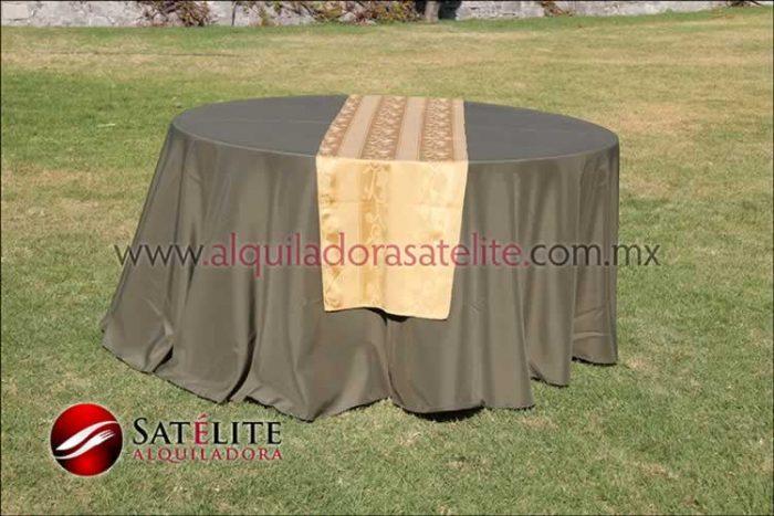 Mantel redondo verde olivo camino jackard