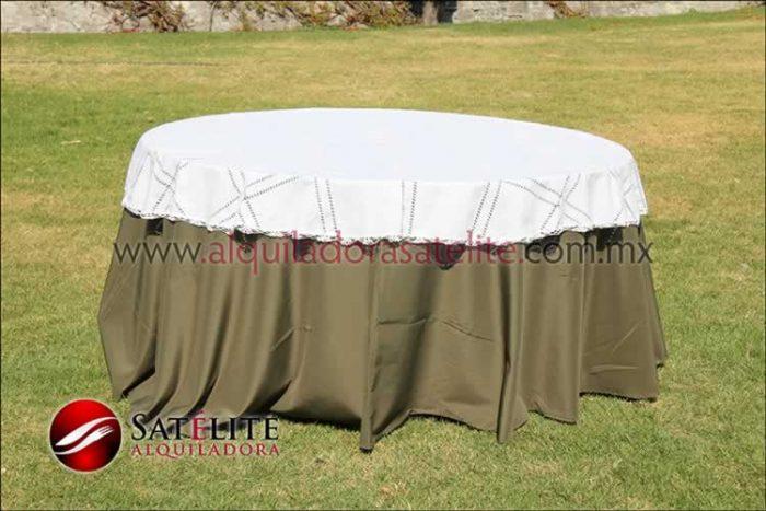 Mantel redondo verde olivo deshilado blanco