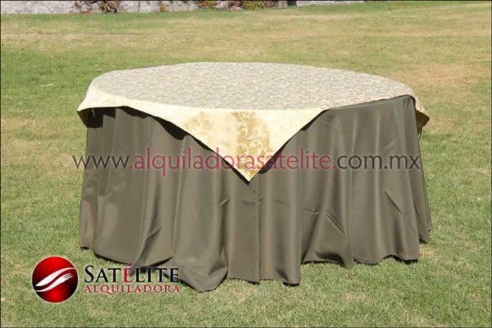 Mantel redondo verde olivo jackard