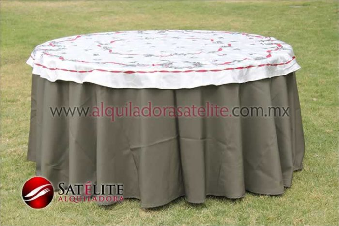 Mantel redondo verde olivo navideño marfil