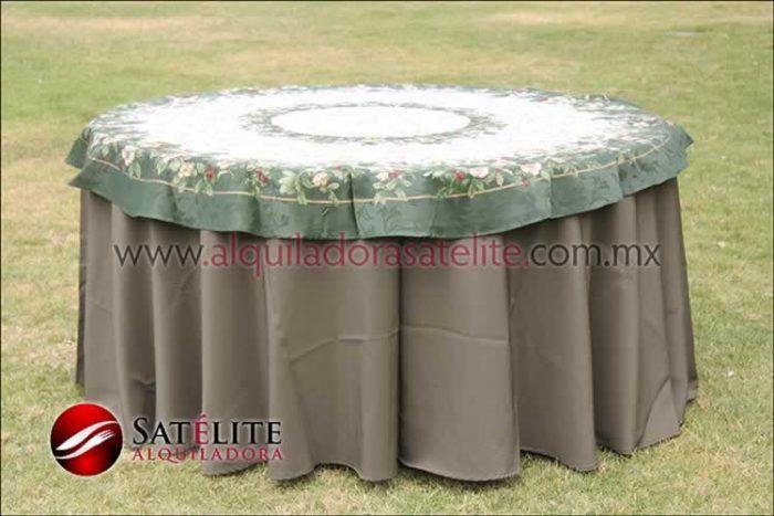 Mantel redondo verde olivo navideño verde