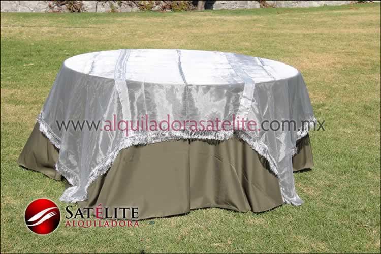Mantel redondo verde olivo organza plata