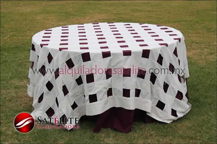 Mantel redondo vino entrelazado manta
