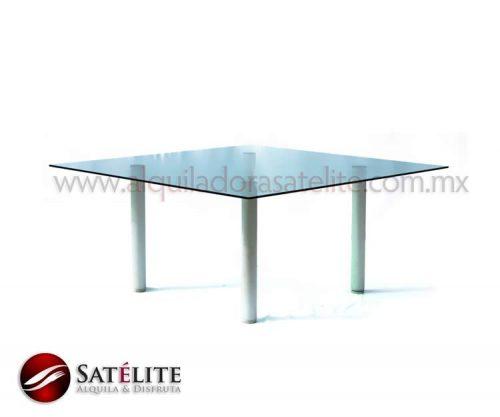 Mesa de cristal templado cuadrada de 1.60 m. para 10 personas