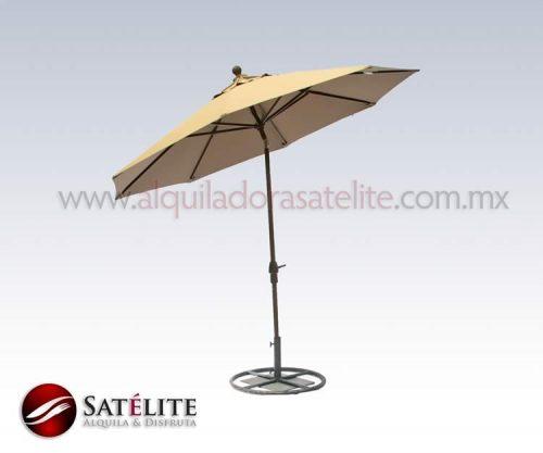 Sombrilla beige con pedestal