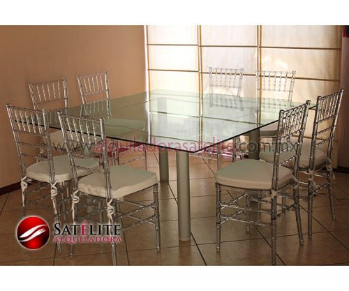 Tiffany transparente y mesa cuadrada de cristal