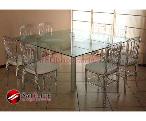 Versalles transparente y mesa cuadrada de cristal